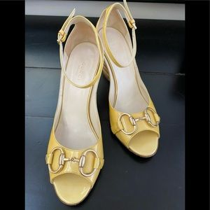 GUCCI Horsebit Yellow Patent Ankle Strap Wedge36.5